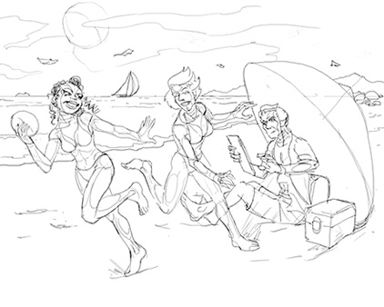Sketch of Alyss, Murphy and Hugo frolicking at the beach