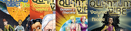 The covers of the four printed volumes of Quantum Vibe.